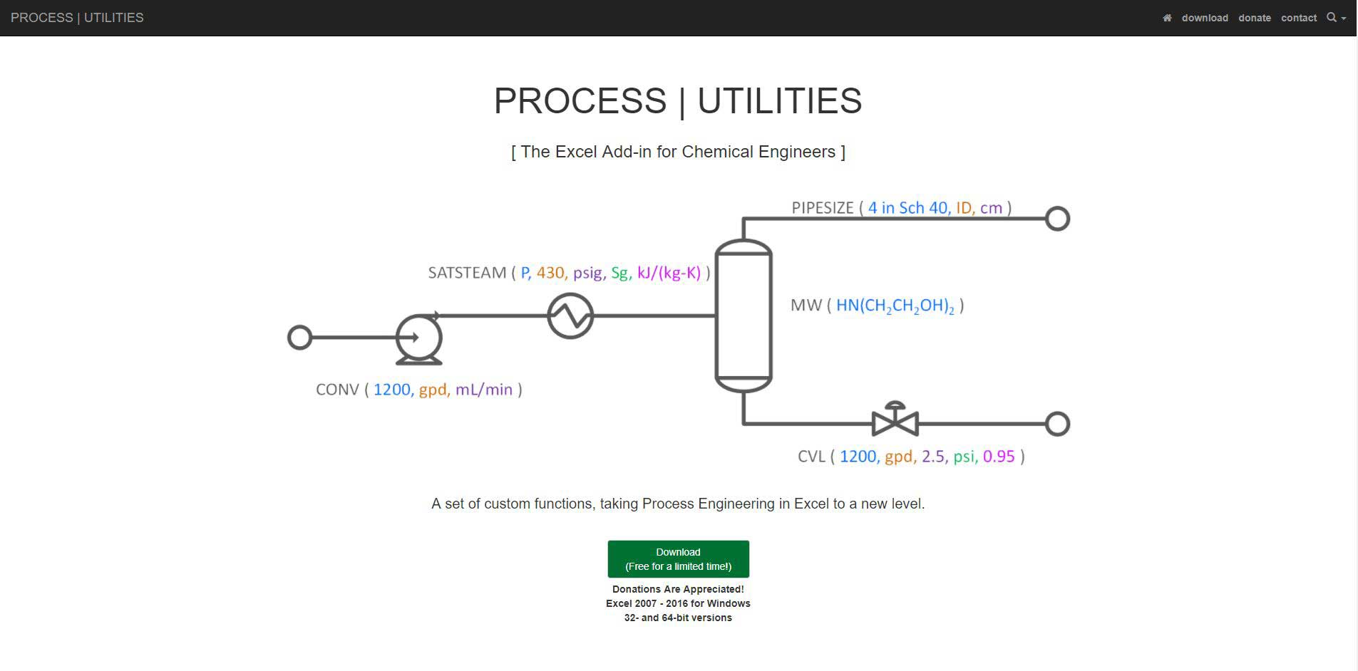 Process Utilities Excel Addon for Chemical Engineering